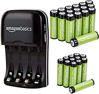 Amazon Basics Rechargeable Battery Charger with 16 AA and 12 AAA Pre-Charged NiMH Rechargeable Batteries