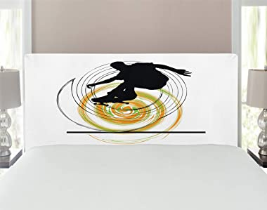 Ambesonne Youth Headboard, Black Silhouette of a Skater Man on Hand Drawn Style Spiral Hobby Activity, Upholstered Decorative