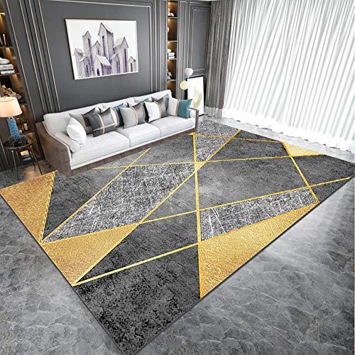 YAOJP Teppiche Wohnzimmer Modern Geometrisches Design rutschfest Dekorativ Teppich Gelb Grau Kristallvlies 0,8Cm Dick,160x230cm(62x90in)