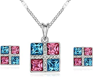 Angie Magic Square Necklace Earring Set Made with Swarovski Element Crystal Jewelry and Cubic Zirconia for Women Birthday ...
