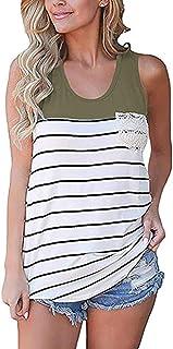 b270d8018da132 Chvity Women s Crochet Pocket Color Block Sleeveless T-Shirts Racerback Tank  Tops