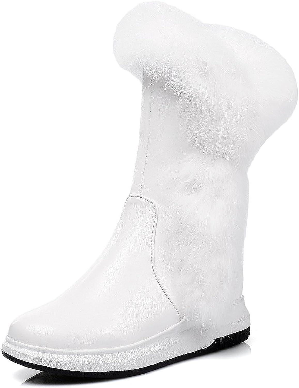 SaraIris Plush Flats Platform Solid Mid-Calf Leisure Snow Boots for Women