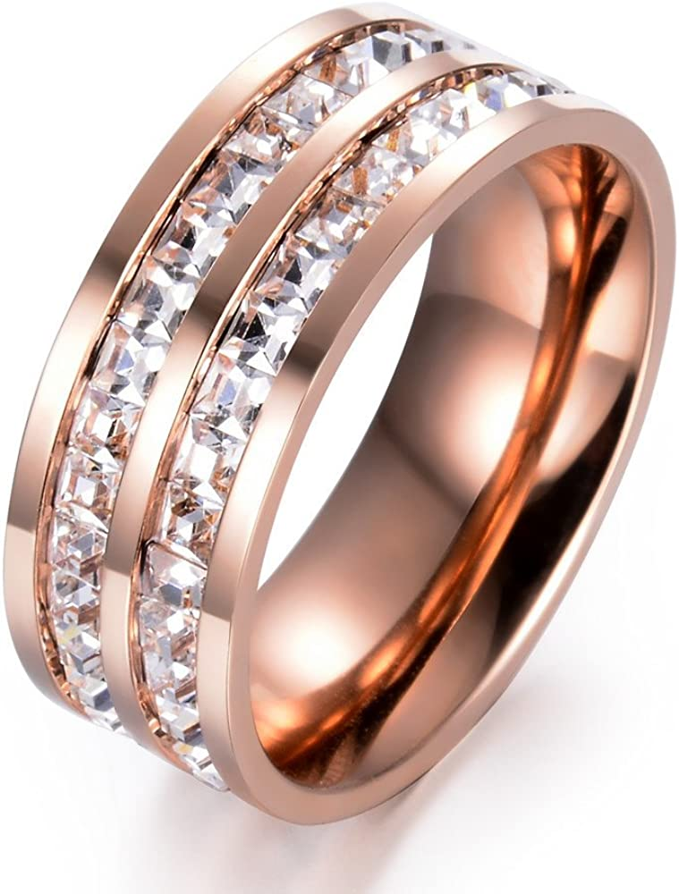 Double Row Shine Cubic Zircon Inlay Stainless Steel for Women Fashion Rose Gold Ring