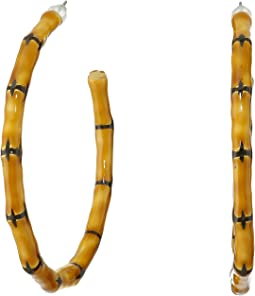 Kenneth Jay Lane - Large Bamboo Hoop Pierced Earrings