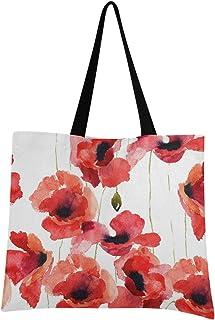 CaTaKu Sac fourre-tout en toile avec motif de coquelicots et fleurs en toile de coton réutilisable et durable