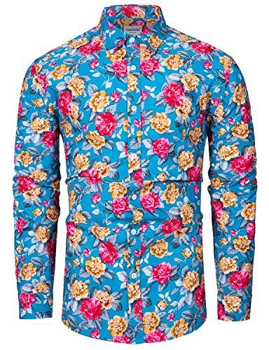 fohemr Herren Hemd Blumenhemd Print Luxuriös Freizeit Langarm Musterhemd Shirt Baumwolle Blau Geblümt Print XX-Large
