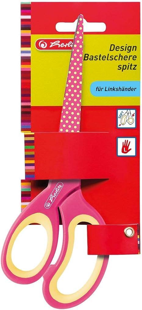 Farbe hellblau Herlitz Design Bastelschere für Linkshänder spitz