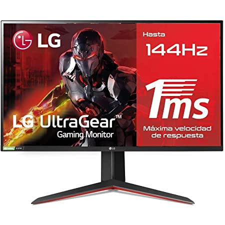 LG 27GN850-B - Monitor Gaming LG UltraGear (Panel IPS: 1920 x1080p, 16:9, 400 cd/m², 1000:1, 144Hz, 1 ms); DP x 1, HDMI x 2, USB; G-Sync Compatible, regulable en altura e inclinacion y pivotable