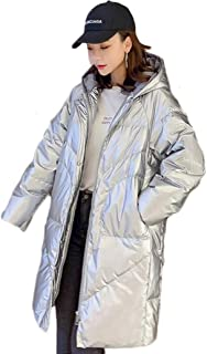 Women's Down Jacket Women's mid-Length Loose Loose Thin Padded Jacket Suitable for Daily Travel and Outdoor Warmth (Color : Silver, Size : XXL)