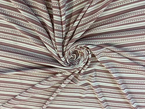Tela de poliéster y viscosa con estampado de rayas, color rosa y blanco, 150 cm de ancho, medio metro, tela Rivin