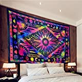 Racunbula Tapestry Psychedelic Celestial Sun and Moon Tapestry Bohemian Stars Planet Wall Tapestries Tie Dye Purple Burning Sun Tapestry Galaxy Mandala Boho Hippie Tapestry Wall Hanging