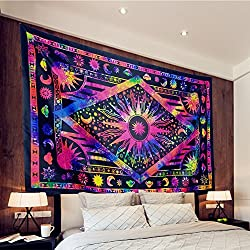 top 10 trippy hippie tapestries Rakhumbra Tapestry Psychedelic Tapestry of the Sun and Moon Bohemian Star Planetary Wall …