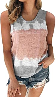Holzkary Womens Tie-Dye T-Shirt Color Block Tops Short Sleeve/Sleeveless Oversized Casual Tees