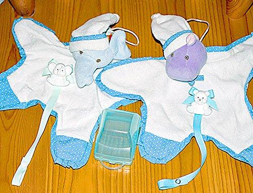 布のおもちゃ どうぶつおあそびタオル エレファント/ ヒポ・ブルー2個組み カーケースいりアニマルホルダーおまけ付