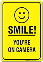 Smile You're on Camera Video Surveillance Sign 10x14 Rust Free Aluminum, Weather/Fade Resistant, Easy Mounting, Indoor/Outdoor Use, Made in USA by SIGO SIGNS