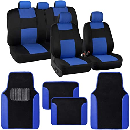 BDK Two-Tone PolyCloth Car Seat Covers w//Motor Trend Dual-Accent Heavy Duty Rubber Floor Mats Black//Blue