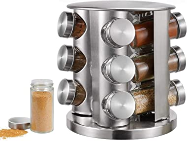 FEELING MALL Revolving Countertop Spice Rack Stainless Steel Seasoning Storage Organization,Spice Carousel Tower for Kitchen