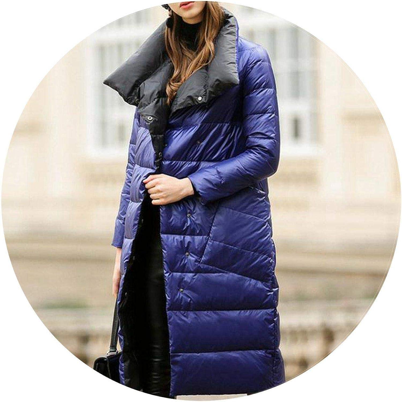 Summerlavender Women Down Jacket Coat Winter Warm Double Sided Light Duck Down Parka Female Snow Outwear