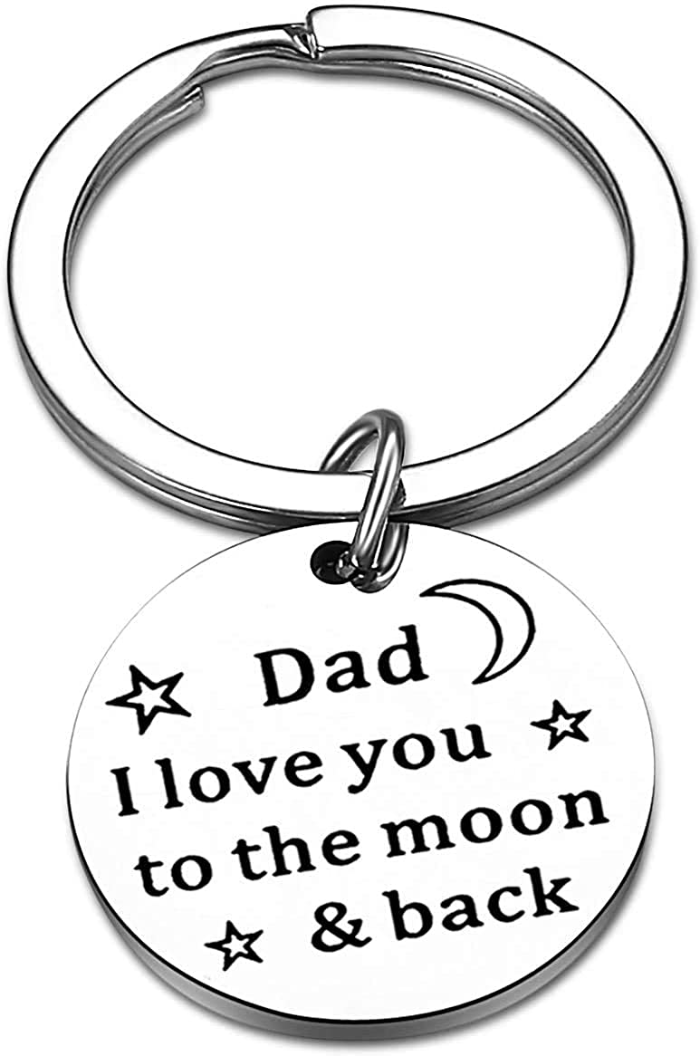 Father's Day Dad Gifts from Son Daughter Dad Keychain Father Keyring Key Tags for Daddy Papa Men Jewelry for Father's Day Birthday (Dad I Love You to Moon & Back)