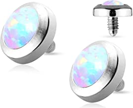 Forbidden Body Jewelry 14g Surgical Steel 4mm/5mm Synthetic Opal Dermal Top for Internally Threaded Anchor