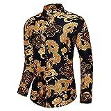 SKLHSIL Camisas de manga larga para hombre, estilo casual, diseño floral, ajustado, estampado de dragón dorado, algodón, con botones, diseño único, para fiestas, vacaciones, boda, talla XX, grande