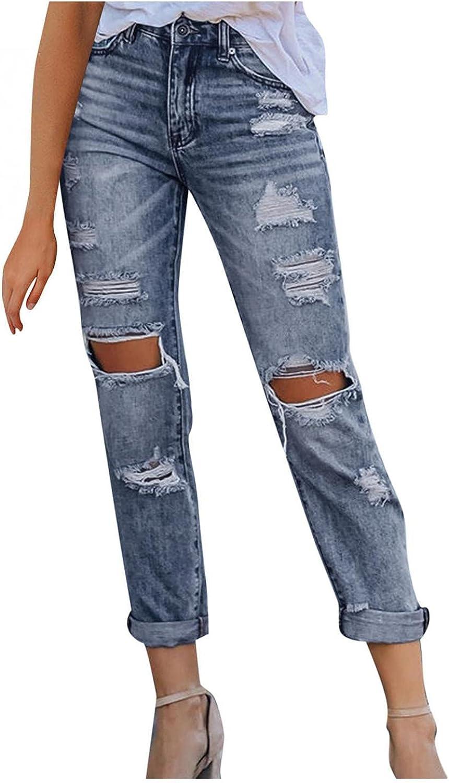 WUAI-Women Plus Size Ripped Boyfriend Jeans High Waist Casual Distressed Stretch Skinny Jeans Destroyed Denim Pants