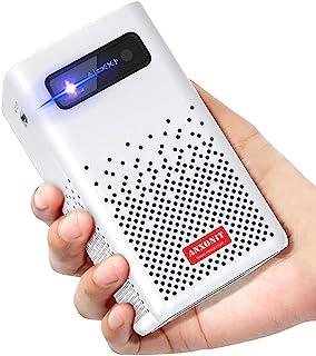 ANXONIT スマート ミニ DLP プロジェクター 150 ANSI ルーメン ピコ ポータブル プロジェクター デュアル 5W Hi-Fi スピーカー アンドロイド 9.0 ブルートゥース 5.0 HDMI 2.0 5G Wi-Fi Ai...