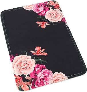 Uphome Floral Rose Bathroom Rug, Non Slip Coral Velvet Foam Bath Mat with Flower in Black Design Soft Absorbent Shower Mat Kitchen Rug, 20x32