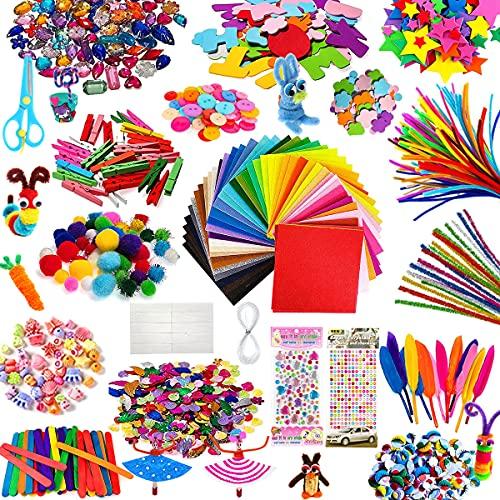 TOLOYE Bastelzubehör für Kinder, Gehören Pipe Cleaners, Buntes Papier, Glitter Pom Poms, Federn, Perlen, Knöpfe, Augen, Pailletten Party Supplies für DIY Handwerk Dekorationen Geschenk für Kinder