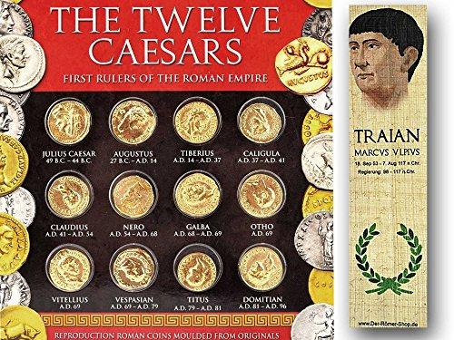 Caesaren Münzset - Forum Traiani - Zwölf Aureii Münzrepliken 24 Karat vergoldet
