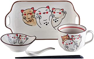 YASE-king Japanese Style 1 Person Tableware Cute Hand Painted Cat Cutlery Set Home Dinner Plate Fruit Bowl Spoon Mug