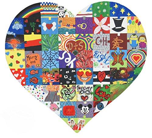 Laserano Hochzeitspuzzle als Malspass für die ganze Gesellschaft, kreatives Hochzeitsspiel ,Holzpuzzle - B x H 70cm x 70 cm