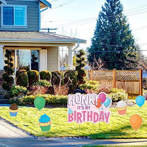 Note Card Cafe Honk It's My Birthday Yard Sign Lawn Art Set with Stakes | Pink Design for Girl, Boy, Colorful Happy Party Parade Outdoor Decorations | Large Single Sided Signs
