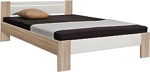 logeerbed futonbed kinderbed Vega eiken ruw gezaagd decor/wit 140x 200cm lgfl. incl. roest en matras