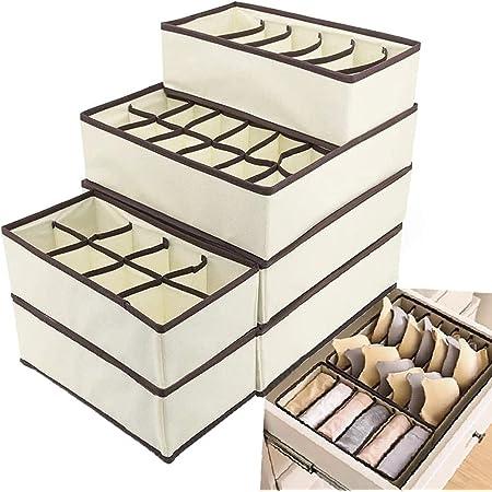 Evance Organiseurs de tiroir pour sous-vètements, Lot de 6 Boîte de Rangement Pliable Closet Organiseurs pour Soutien-Gorges, Chaussettes, Foulard Séparateurs de Tiroir (Beige)