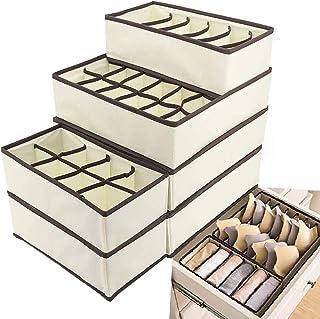 Evance Organiseurs de tiroir pour sous-vètements, Lot de 6 Boîte de Rangement Pliable Closet Organiseurs pour Soutien-Gorg...