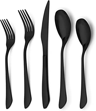 Matte Black Silverware Set for 4,viishow 20 Piece Stainless Steel Flatware Set,Modern Satin Finished Kitchen Cutlery Tablewar