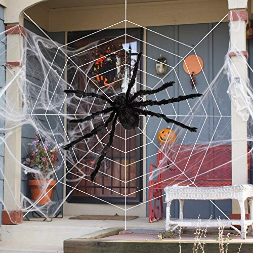 """HOOJO Halloween 60"""" Giant Fake Spider Web Decoration, with 200"""" Spider Web for Outdoor& Indoor Halloween Decoration in Yard, Lawn and Garden, Haunted House, Halloween Costumes Party suppliers"""
