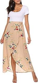 Womens Floral Chiffon Wrap Split Maxi Dress Short Sleeve Long Summer Dress