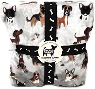 Lili Chin Designs Berkshire Doggie Drawings Various Breeds Gray Throw Blanket (90