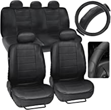 Motor Trend Black Synthetic Leather Car Seat Covers w/GripDrive Stitched Cushion Grip Steering Wheel Cover