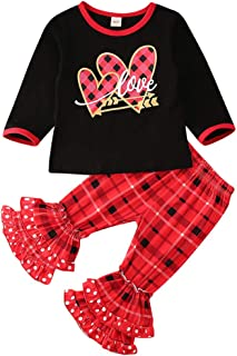 Valentine's Day Outfit Toddler Baby Girls Heart Print T-Shirt Tops +Dots Flare Polka Pants Outfit2PCS Clothes Set