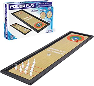Power Play TY6004 Table Top Family Game 3-in-1 Curling, Bowling and Shuffleboard, Black