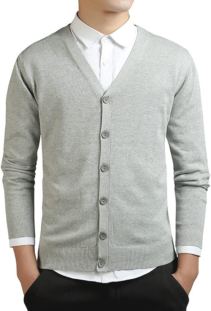 SPNEC Spring Long Sleeve Cardigan Men Knitted Oversized Slim Cotton Sweaters Casual Knitwear (Color : Gray, Size : XXXL Code)