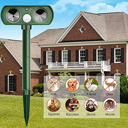 Yomiro Ultraschall Vertreiber mit Bewegungsmelder, Solar Ultraschall Abwehr, IPX44 Wasserdichter, 5 Modus Katzenschreck, Hundeschreck, Marderschreck, Ultraschallschreck, Katzenabwehr, Hundeabwehr