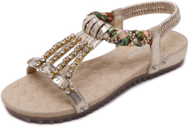 GIY Bohemian Flat Sandals for Women with Rhinestone Strappy Comfort Platform Summer Beach Elastic Thong
