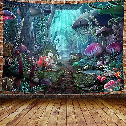 """DBLLF Psychedelic Game Mushroom Castle Tapestry Large 80""""x 60"""" Cotton Art Tapestries Fairy Tale Forest Tapestry for Bedroom Living Room Dorm DBLS774"""