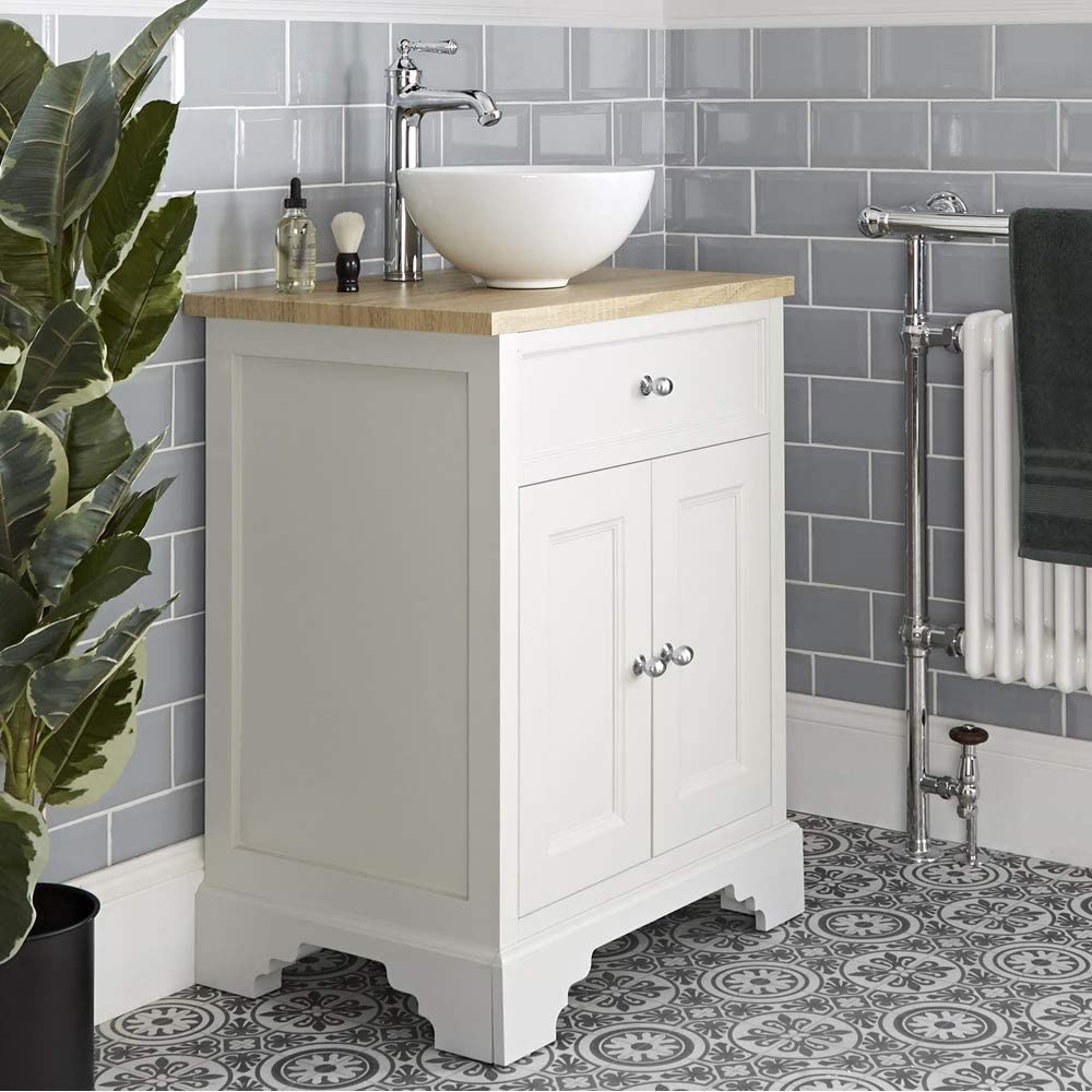 Buy Milano Thornton Antique White And Oak 645mm Traditional Bathroom Vanity Unit With Round Countertop Basin Online In Turkey B08hvb1j7m