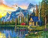 Pintura de bricolaje por números 16X20 pulgadas para adultos Kit para principiantes Pintura en la cabina del lago alpino Pinturas Arte de la pared Dibujo con pinceles y pigmento acrílico DIY Pintura