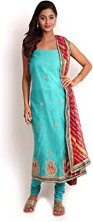 Sea Green Chanderi Gota - Patti Suit with Leheriya Dupatta